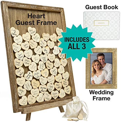 Wedding Guest Drop Top Frame Wedding Guest Book Alternative with 70 Blank Wooden Hearts, a Traditional Guest Book, Picture Frame, and Display Easel (Rustic Brown Wood) (Drop Frame)