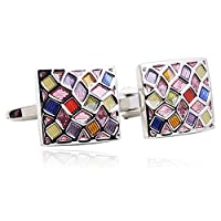 Colorful Oil Drip 18K Platinum Plated Cufflinks for Men Shirt Fahion Cuff Buttons