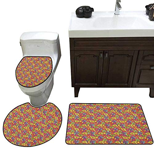 - Colorful 3 Piece Toilet mat Set Stained Glass Style Pattern with Flower Motifs Geometrical Star Shapes Mosaic Tile Bathroom and Toilet mat Set Multicolor