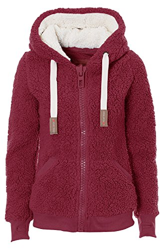 (Kooos Ladies Womens Soft Teddy Sherpa Fleece Hooded Jumper Hoody Jacket Coat (DK008-Wine, XL))