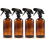 4-Pack - Empty Amber Glass Spray Bottle - Large 16 oz, 480 ml Refillable Container – Eco-Friendly- for Essential Oils, Homemade Cleaning Products, Organic Beauty Treatments or Cooking Oils - Durable Black Trigger Sprayer w/ Mist and Stream Nozzle