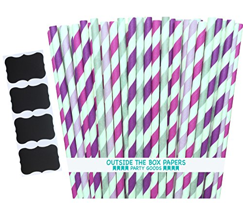 Outside the Box Papers Striped Paper Straws 7.75 Inches 100 Pack Lilac, Lavender, Fuchsia, (Lilac Box)