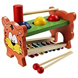 Funmily 2 in 1 Pound and Tap Bench with Slide Out Xylophone Wooden Music Toy for Kids