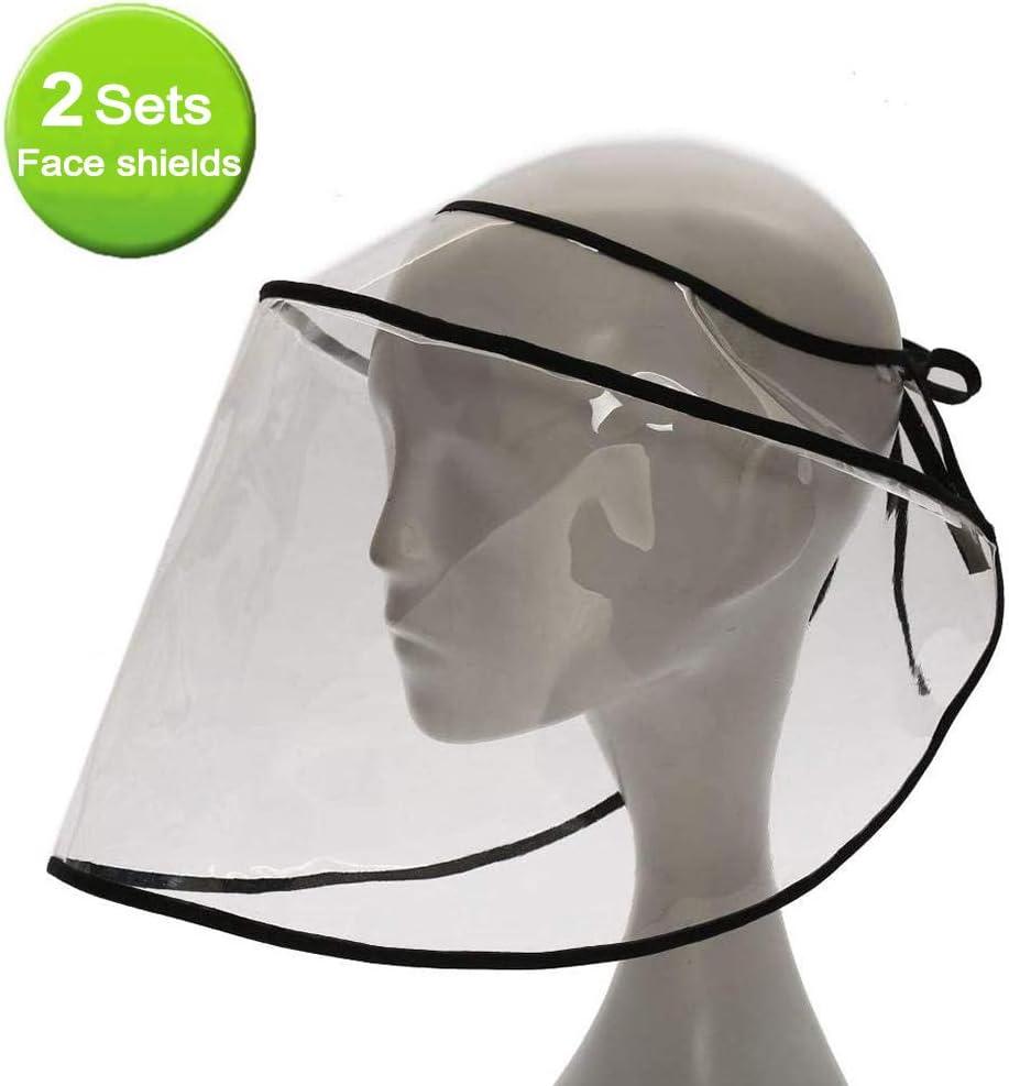 Heatile Visera Protectora para la Cara, plástico Ligero, Ajustable, Transparente, para Evitar la Saliva, Gotas, Polen y Polvo, 2 Unidades