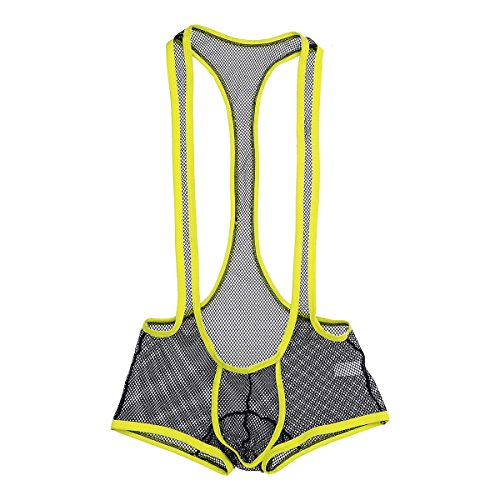 iEFiEL Mens One-Piece Fishnet Mesh See-Through Wrestling Singlet Bodysuit Underwear Black XL by iEFiEL