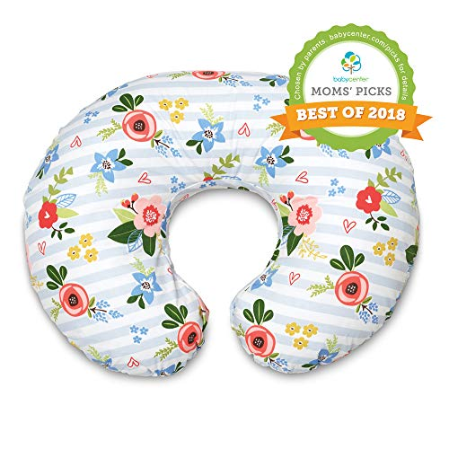 Boppy Original Nursing Pillow and Positioner, Blue Pink Posy, Cotton Blend Fabric with allover fashion from Boppy