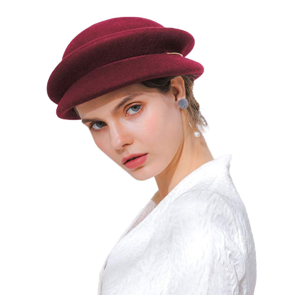 FADVES Wool Hat Autumn Winter Beret Metal Ring Cloche Felt Vintage Church Caps Wine Red by FADVES (Image #2)