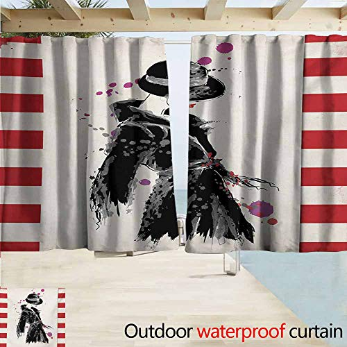 Zmacdk Fashion Home Patio Outdoor Curtain Modern Woman in a Cool Coat with Watercolor Paintbrush Style Casual Urban Design Darkening Thermal Insulated Blackout W55 xL45 Black Red