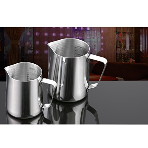 MagiDeal 350ml Kitchen Stainless Steel Coffee Frothing Milk Tea Latte Jug with Tamper
