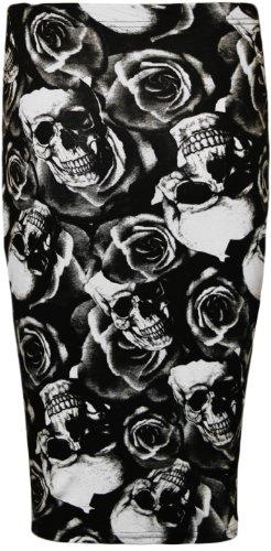 WearAll - Midi Jupe Crayon Moulant Elastique Imprim Azteque Ray Carreaux - Jupes - Femmes - Tailles 36-42 Crane Roses