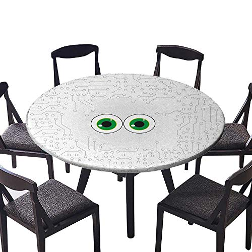Round Premium Table Cloth Tech Hardware Circuit Board Backdrop with Eye Forms Digital Picture Pearl Black Jade Perfect for Indoor, Outdoor 31.5