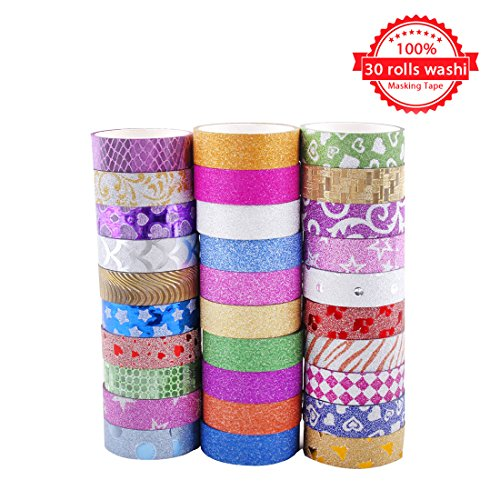 Washi Masking Tape Set of 30 Rolls - All Girls Favorite, Decorative Craft Tape Collection for DIY and Gift Wrapping with Colorful Designs and Patterns By Juissie (Colour Page Full 20)