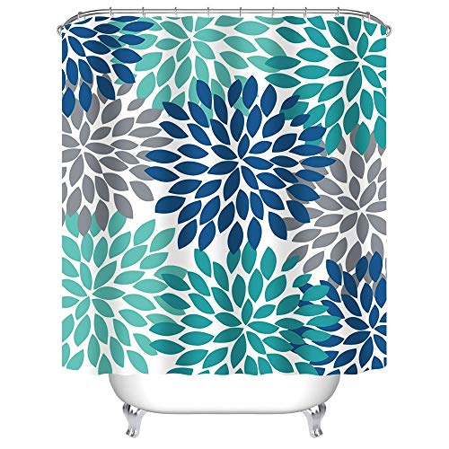 Uphome Dahlia Pinnata Floral Shower Curtain, Antique Colorful Blue Teal Grey Flower Bathroom Curtain Sets, Water Resistant Decorative Bathroom Fabric, 60 x 72 Inch (Shower Curtain Teal Grey)