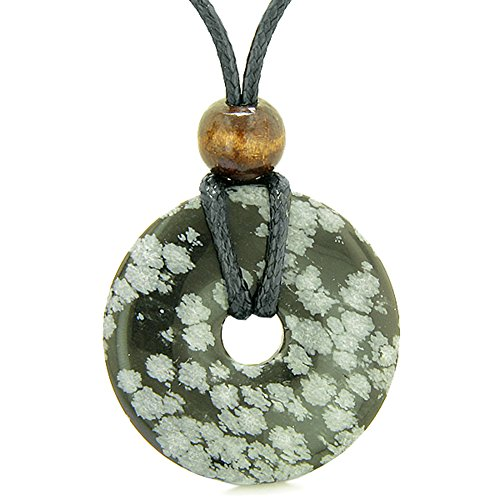 (BestAmulets Amulet Magic Large Coin Shaped Donut Positive Powers Snowflake Obsidian Healing Lucky Charm)