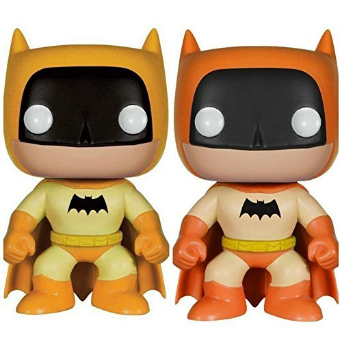 Batman 75th Anniversary Bundle 1 Yellow Rainbow and 1 Orange Rainbow Batman Vinyl Figures