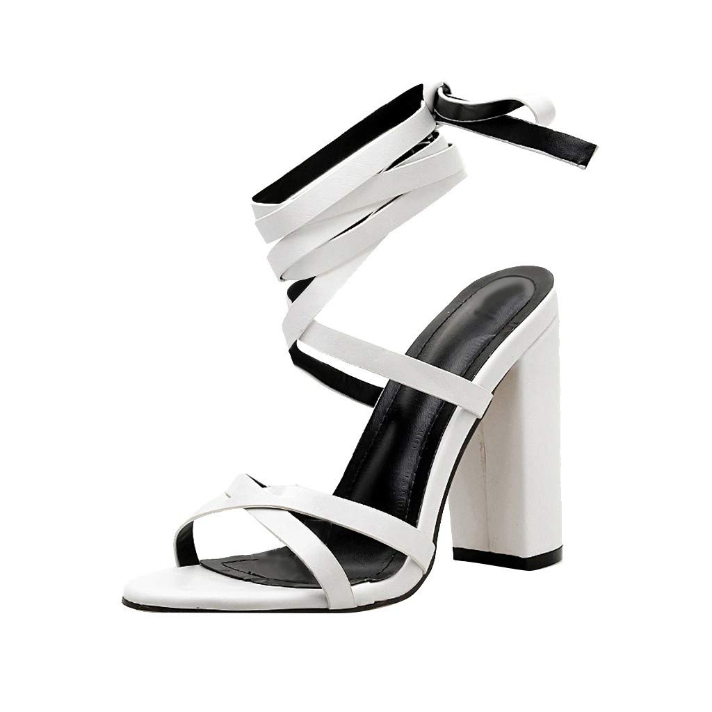 Nadition Classic Coarse High Heels Sandals❤️️ Women Bandage High Heel Sandals Casual Pure Color Chunky Pump Shoes White