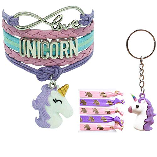 Lani&Carol Unicorn Rainbow Jewelry Accessories Gifts for Girls – Charm Bracelet|Hair Ties|Keychain|Unicorns