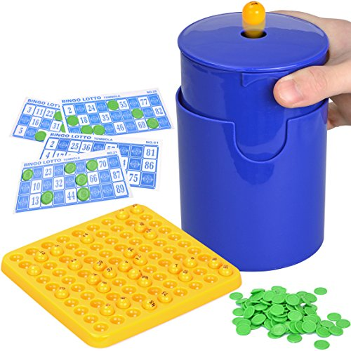 7TECH Bingo Supplies Game Hand-held Design Cylinder For The Balls Extraction 48 Cards and 90 Numbers