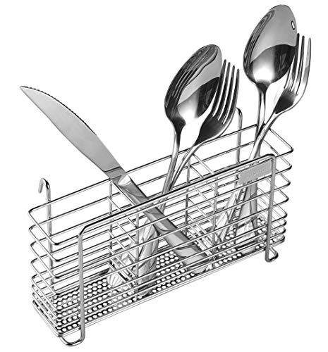 (Sturdy 304 Stainless Steel Utensil Drying Rack Basket Holder with Hooks 3 Divided Compartments, Rust Proof, No Drilling)