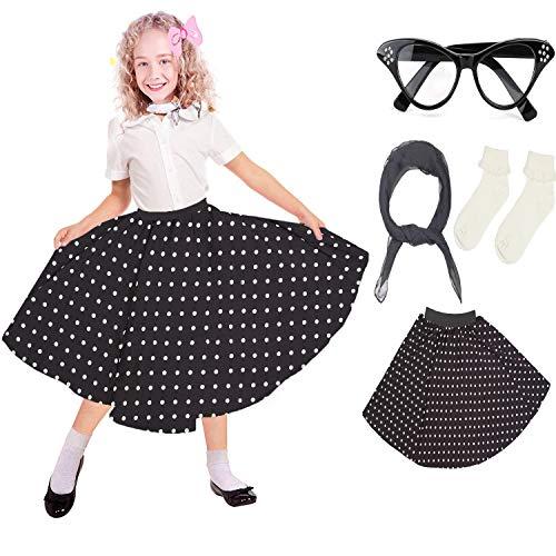 - Beelittle 50's Costume Accessories Set Girl Vintage Polka Dot Skirt Scarf Bobby Socks Cat Eye Glasses 50s Kid Costume (C-Black)