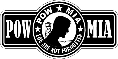 Pow Mia Bumper Sticker - Pow MIA 6x2 inches pride remembered lost love happiness young free military war america united states color sticker state decal vinyl - Made and Shipped in USA