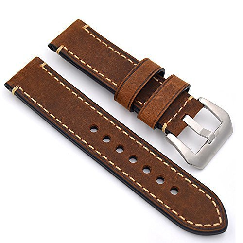 meridy Watch Bands Leather Watch Strap Fashion Men Watch Belt 20mm 22mm 24mm Leather Watch Band Watch Accessories For Traditional Watch Sports Watch Mens Watch or Smart Watch 22mm Brown Band Leather Belt Buckle