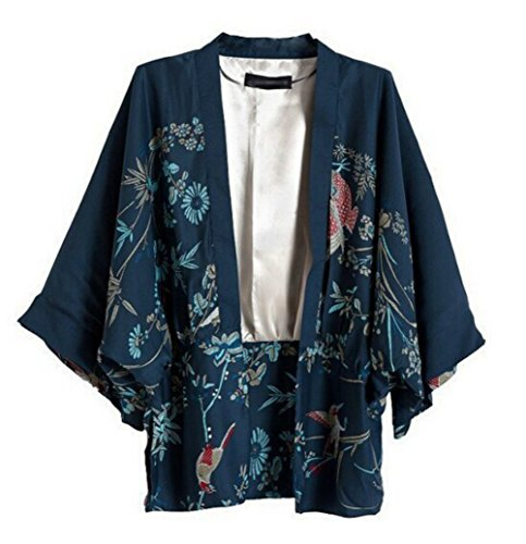 Marine sleeved Doublure Mousseline Thin Section Printed avec Loose Kimono Phoenix Coat Long 0CPwqv