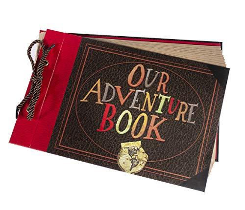 Pulaisen Our Adventure Book Scrapbook Pixar Up Handmade DIY Family Scrapbooking Album with Embossed Letter Cover Retro Photo Album