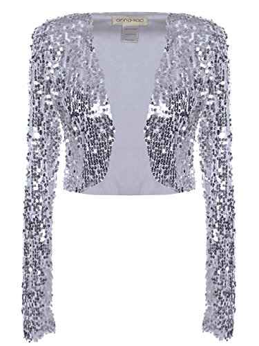 Anna-Kaci Womens Glitter Sequins Shiny Long Sleeve Cropped Bolero Blazers Shrugs, Silver, Medium (Cute Cheap Coats For Women)