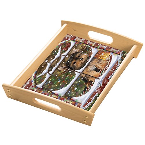 Please Come Home For Christmas Yorkshire Terriers Sitting In Window Wood Serving Tray with Handles Natural