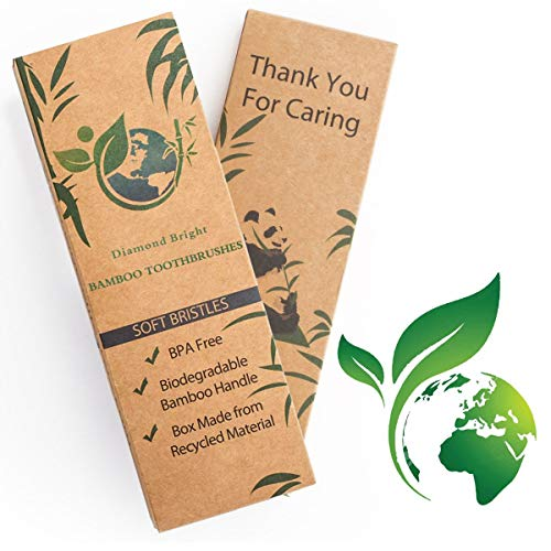 BAMBOO TOOTHBRUSHES NEW 4 2019 SOFT BRISTLE ERGONOMIC ECO FRIENDLY BIODEGRADABLE VALUE PACK (Best Manual Toothbrush 2019)