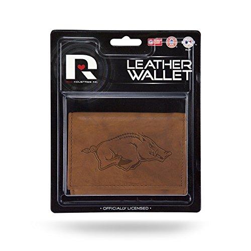Rico Industries NCAA Arkansas Razorbacks Leather Trifold Wallet with Man Made Interior ()