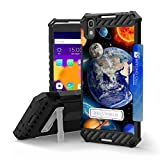 Alcatel One Touch Idol 4, Nitro 49 Case, Trishield Durable Rugged Armor Phone Cover With Detachable Lanyard Loop And Built in Kickstand Card Slot - Solar Planet Galaxy