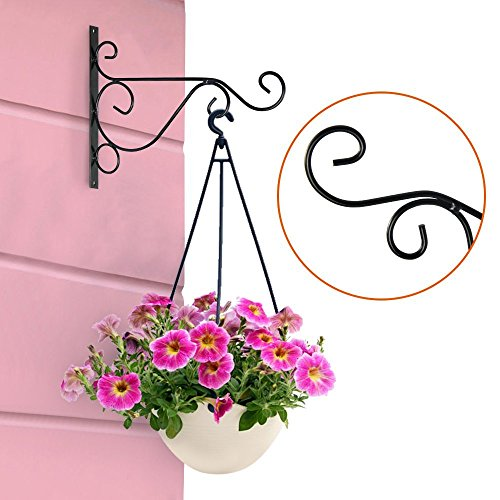 pannow Metal Hanging Plants Bracket, 10''/14'' Wall Planter Hook Indoor Outdoor Flower Pot Bird Feeder Wind Chime Lanterns Hanger Plant Holder Hanger Hook