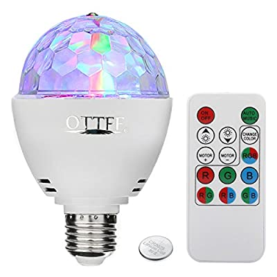 OTTFF 3W E27 Disco Ball Lamp RGB Rotating LED Sound Activated Strobe Lights Party Bulb Stage Light for Family Parties ,Birthday,Desk Lamp with Remote Control