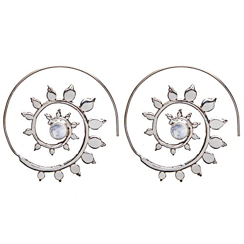 81stgeneration Women's Brass Silver Tone Simulated Moonstone Leaf Spiral Tribal Ethnic Earrings