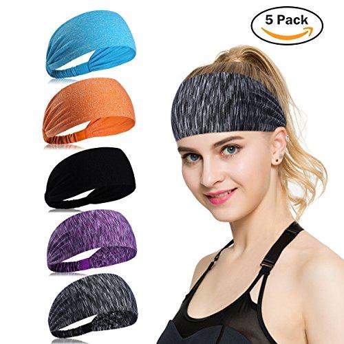 Womens Yoga Sport Athletic Headband Sweatband For Running Sports Travel Fitness Elastic Wicking Non Slip Style Bandana Basketball Headbands Headscarf fits Men (color 2)