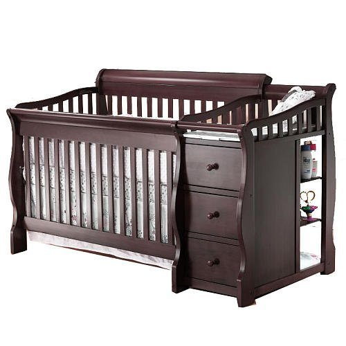 Sorelle Princeton 4-in-1 Convertible Crib & Changer - Espresso (Metal Verona Table)
