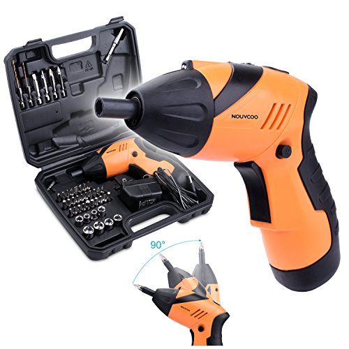 NOUVCOO 45 in 1 Portable Electric Cordless Rechargeable Screwdriver Kit,4.8V Cordless Drill Power Tools with LED&43pcs Screws Sleeves and Drill Bits with Case NC09