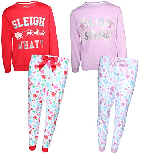 (Sleep On It Girls Sleepwear 4-Piece Long Sleeve Top and Fleece Pants Holiday Pajamas (2 Full Sets), Holiday Squad, Size)