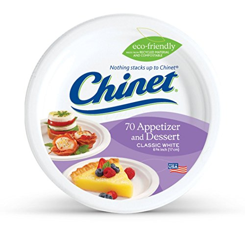 Chinet Classic White, Round Appetizer and Dessert Plates, 6.75 Inches, 70 Count (Appetizer Paper Plates)