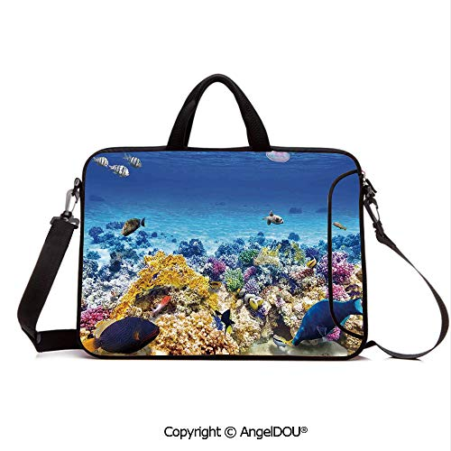 AngelDOU Neoprene Laptop Shoulder Bag Case Sleeve with Handle and Extra Pocket Underwater Sea World Scene with Goldfish Starfish Jellyfish Depth Diving Concept Compatible with MacBook/Ultrabook/HP/A