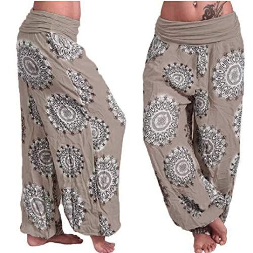 Muranba Pants Womens Plus Size Loose Print Harem Wide Trouser Khaki