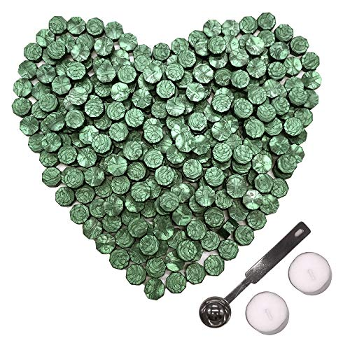 Botokon Pine Green Sealing Wax, 150 Pieces Octagon Envelope Sealing Wax Beads Sticks Kit with a Wax Melting Spoon 2 Pieces Candles for Seal Wax Stamp (Pine Green Sealing Wax)