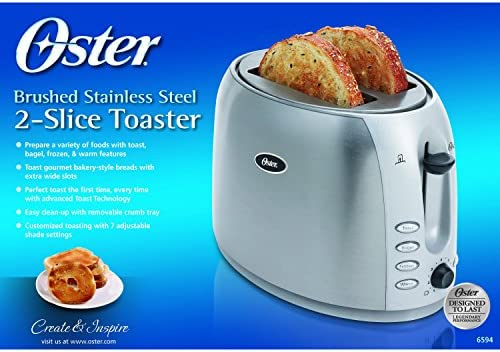 Oster 2-Slice Toaster, Brushed Stainless Steel (006594-000-000)