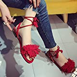 Anxinke Girls Opened Toe Summer Shoes Lace-Up Flat Sandals (5, Red)