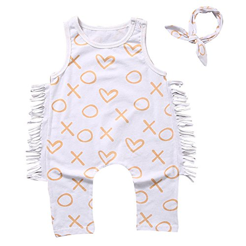 oldeagle 2PCs Baby Clothes Newborn Romper Infant Baby Summer Outfit Sleeveless Bodysuit + Headband Clothing Set (White, 12M) by oldeagle (Image #1)
