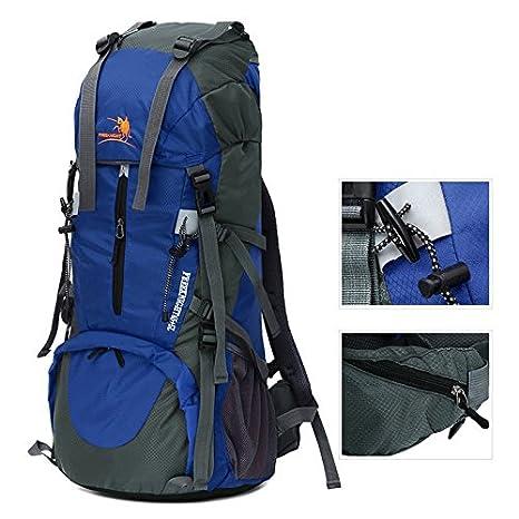 Litthing Mochila de Senderismo 65+5L Unisexo Multifuncional con Cubierta Impermeable Mochila de Marcha Trekking Camping Deporte al Aire Libre