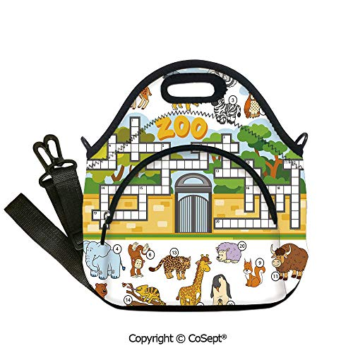 Multipurpose Neoprene Lunch Bag,Zoo Themed Education Game with Different Animals Numbers and Words Print Decorative,Lunch Boxes Container Tote(12.59x6.29x12.59 inch) Multicolor (Pottery Phone Number Barn)