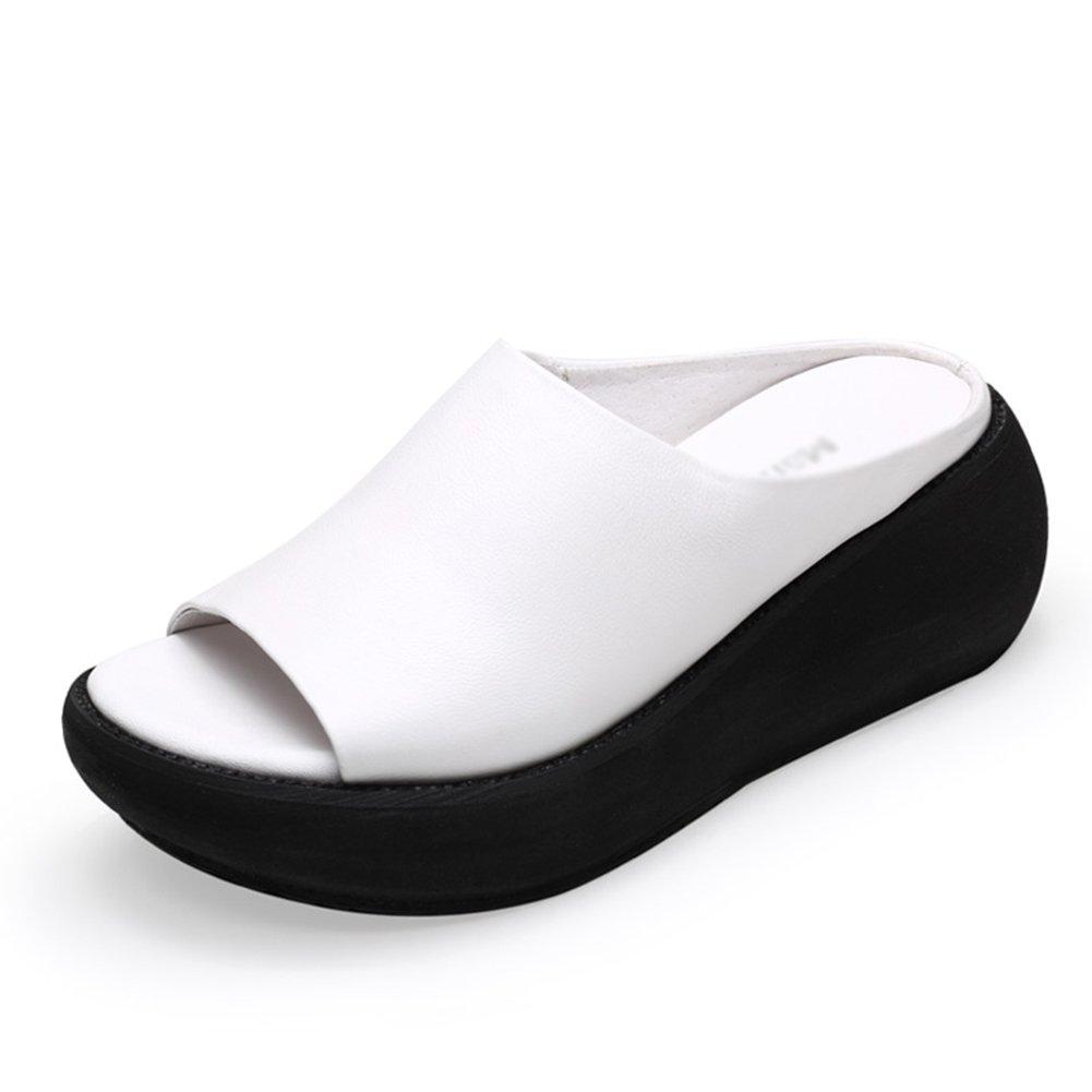 ac6a47ebf1cf3 ZCJB Pantofole Donna Donna Donna Estate Abbigliamento Esterno Pelle Fondo  Spesso Impermeabile Piattaforma Fashion Muffin Bottom